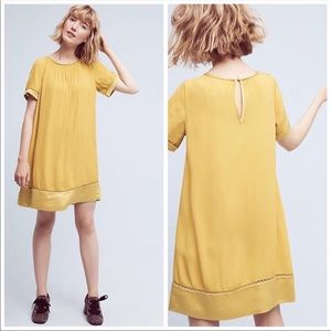 Anthro Swing Dress Yellow by Maeve mustard gold S